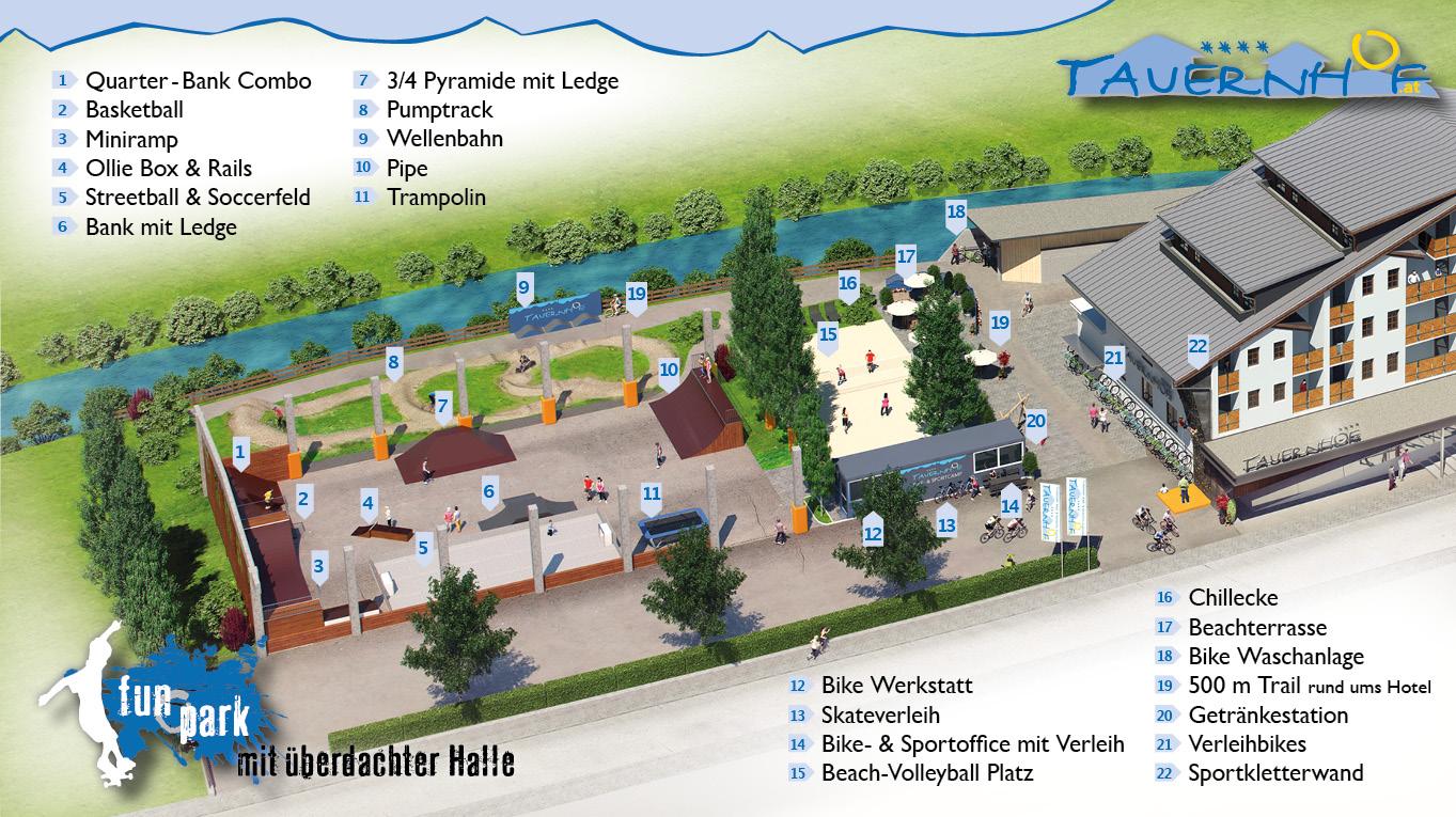 Tauernhof Skatepark Funpark Flachau Park Sommerurlaub Rampe
